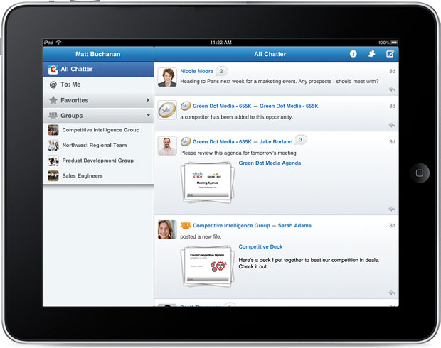 salesforce.com chatter mobile iPad