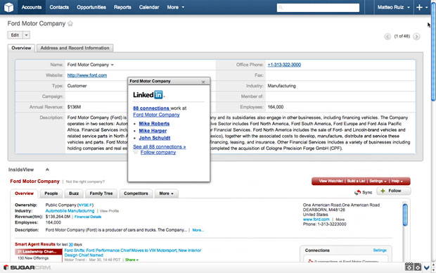 SugarCRM LinkedIn view