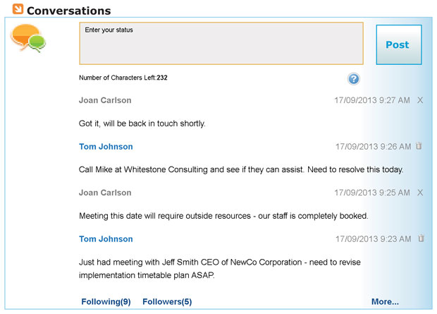 Conversations is the new internal chat tool in Commence CRM